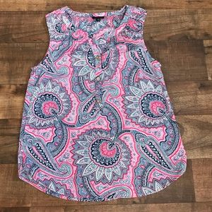 Talbots colorful sleeveless paisley blouse